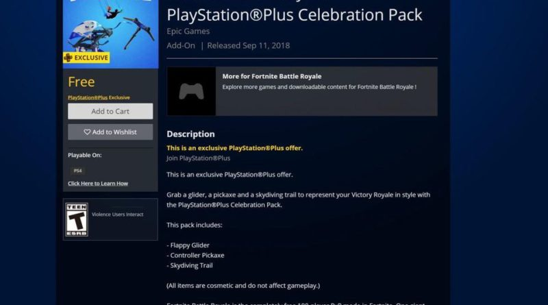 Fortnite PlayStation Pack Celebration Pack