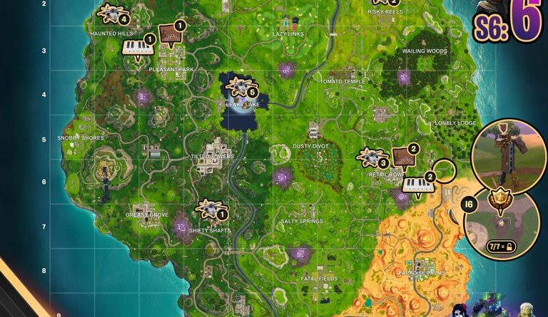 Fortnite Season 6, Week 6 – Cheat Sheet Map