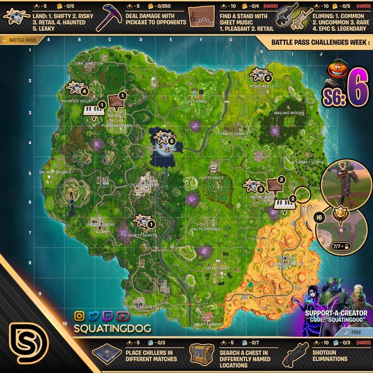 Fortnite Season 6, Week 6 – Cheat Sheet Map