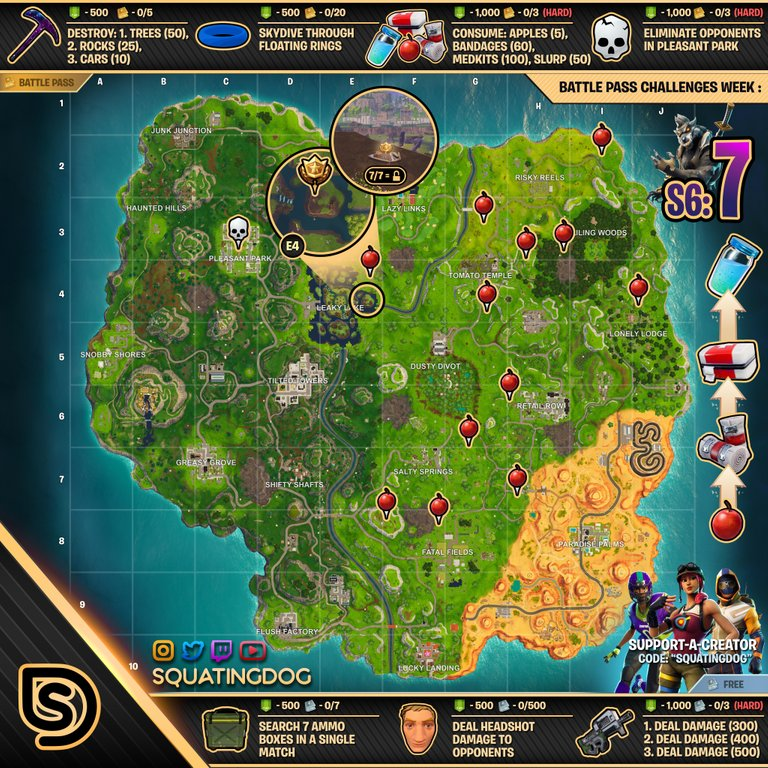 Fortnite Season 6, Week 7 – Cheat Sheet Map